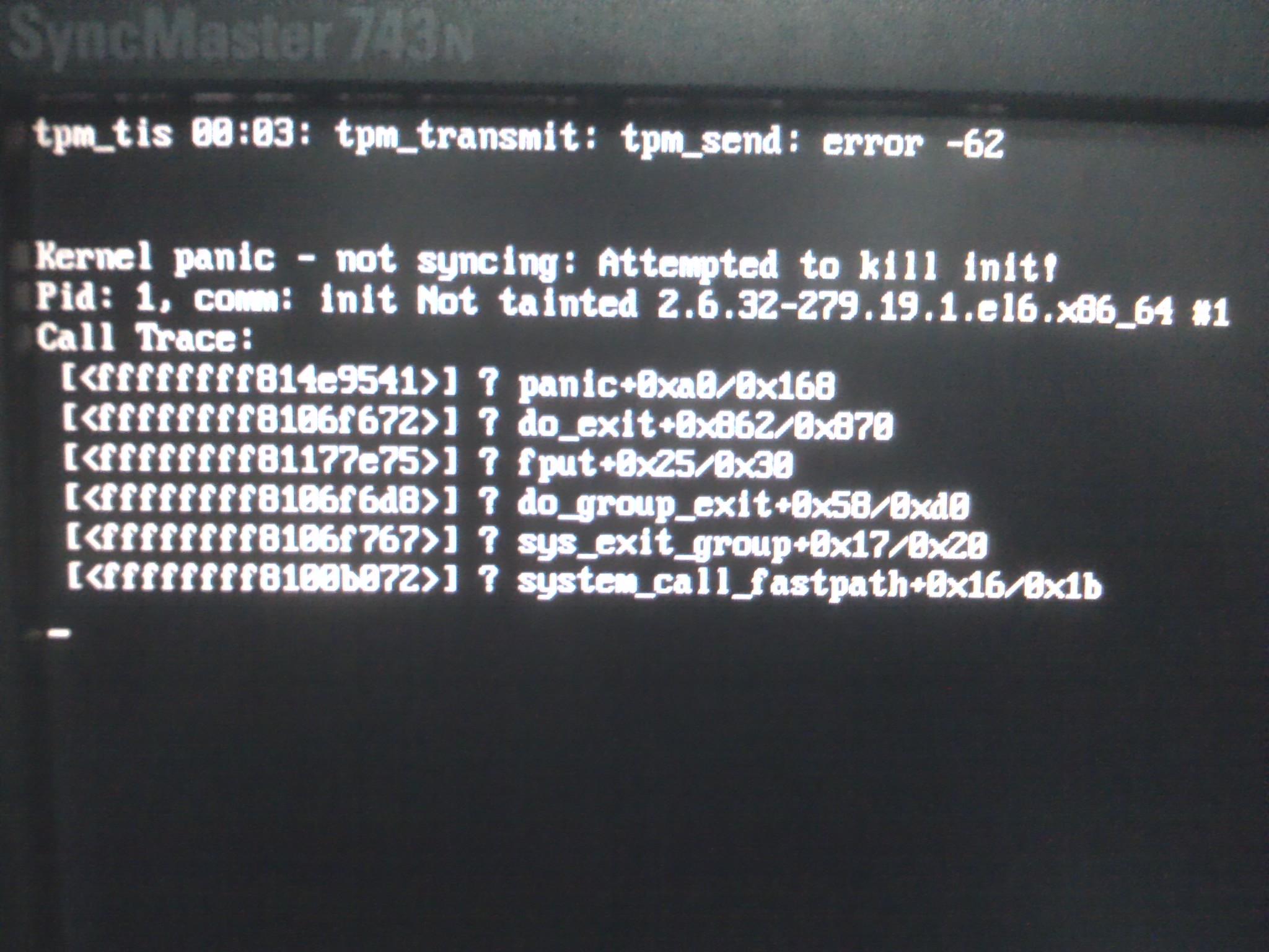 升級內核kernel panic - not syncing: Attempted to kill init